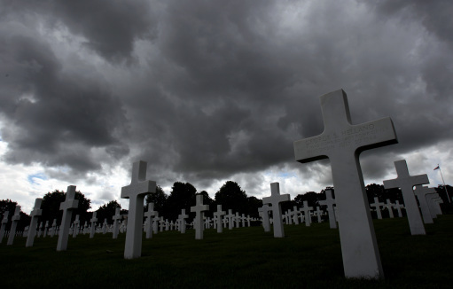 General view of head stones at the American War Cemetary, Madingley, Cambridgeshire.
